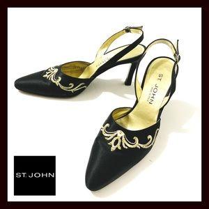 EUC! St.John Black Sling back Heels Shoes